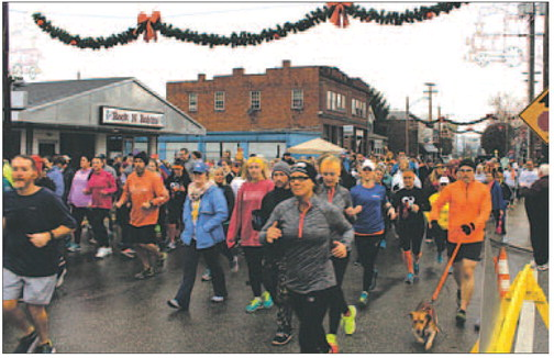 Runners get started at the annual Turkey Trot on Thursday.
