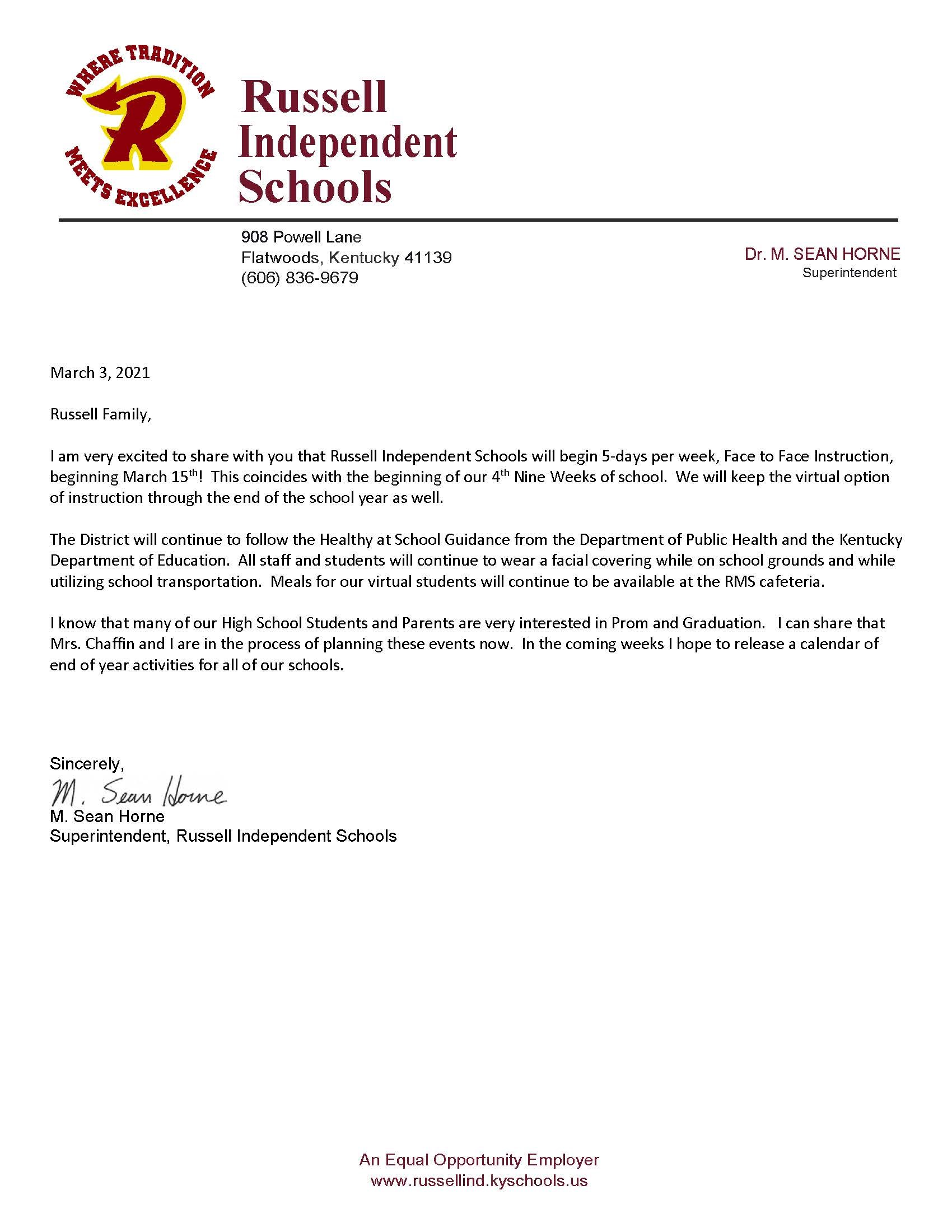 Message from superintendent 3-3-21