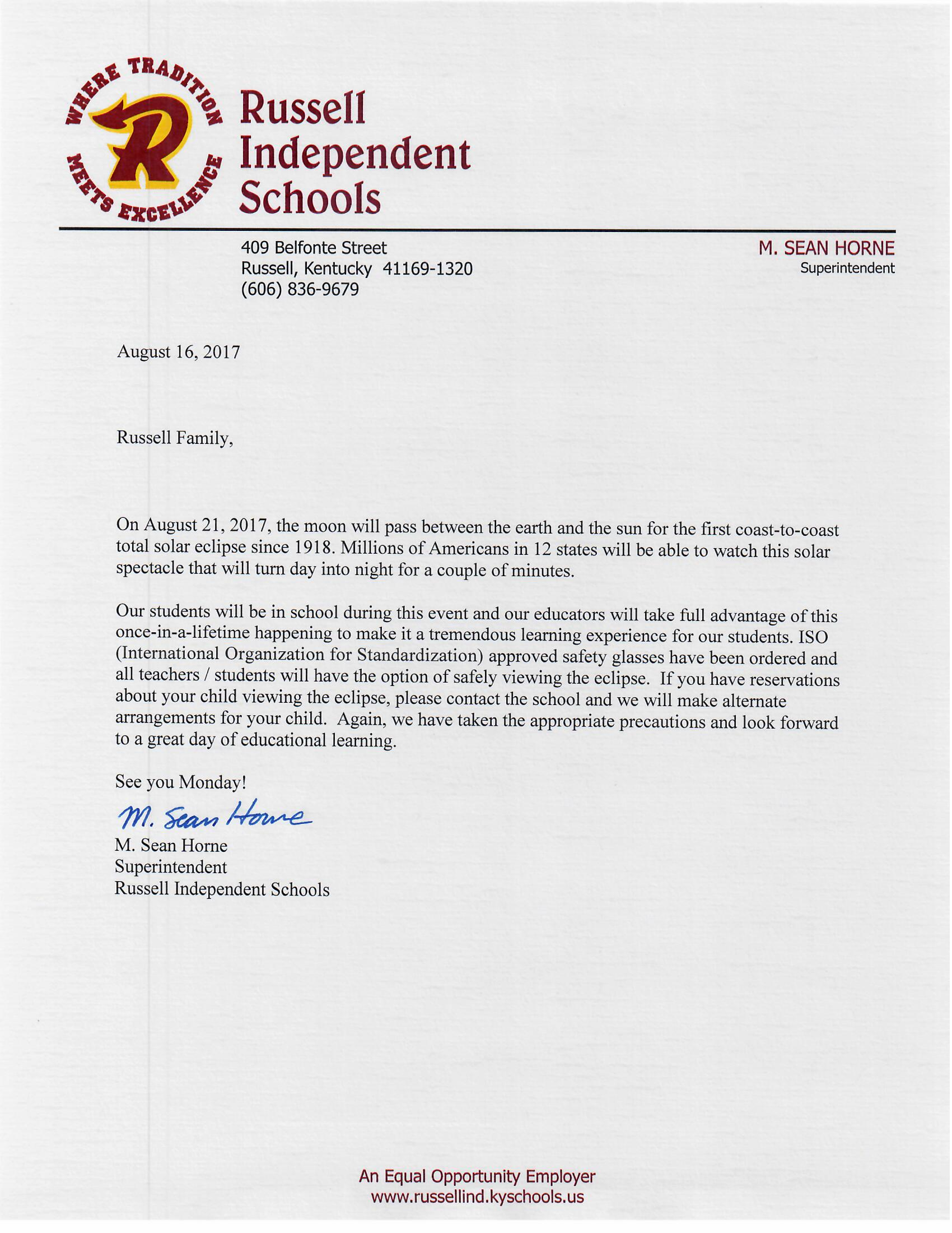 superintendent letter about solor eclipse