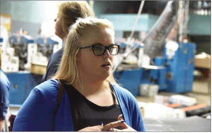 Bethany Bloss of Russell High School tours The Daily Independent while on a tour with the Ashland Alliance's Youth Leadership program.